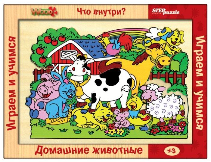 Рамка-вкладыш Step puzzle Что внутри? Домашние животные (89402)