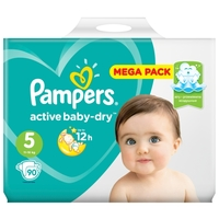 Pampers подгузники Active Baby-Dry 5 (11-16 кг) 90 шт.