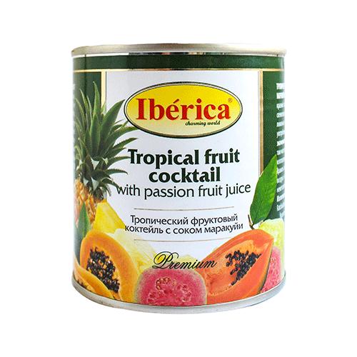 Консервированный тропический фруктовый коктейль с соком маракуйи, жестяная банка 435 млФрукты и ягоды консервированные<br>