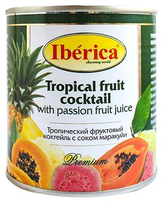 Консервированный тропический фруктовый коктейль соком маракуйи, жестяная банка 435 мл
