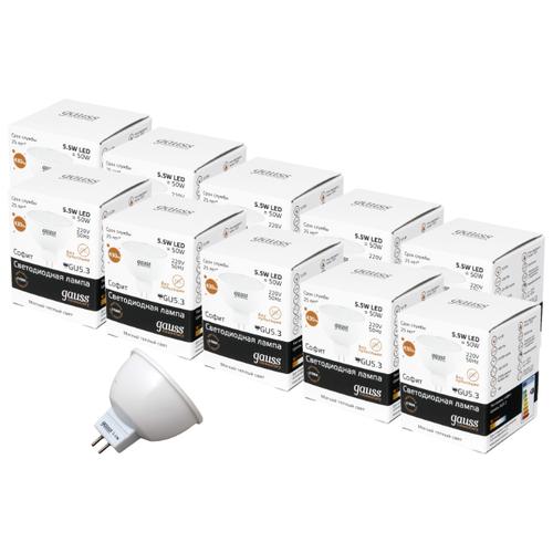 Упаковка светодиодных ламп 10 шт gauss GU5.3, MR16, 5.5ВтЛампочки<br>