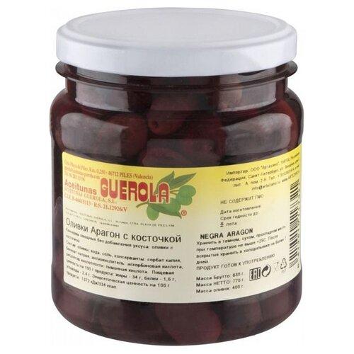 Guerola Оливки Арагон с косточкой в рассоле, стеклянная банка 770 гМаслины, оливки, каперсы консервированные<br>