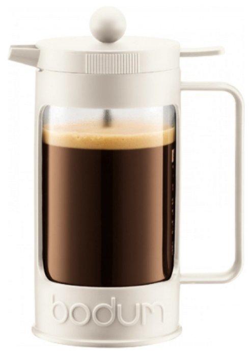 Френч-пресс заварочный чайник с прессом BODUM Bean 1л 11376-913, стеклянный, белый, Швейцария