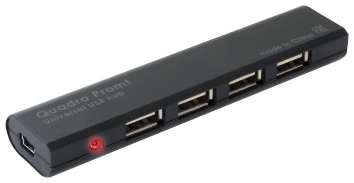 Концентратор USB 2.0 DEFENDER Quadro Promt 4 x USB 2.0 черный 83200