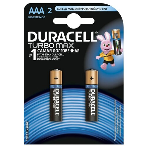 Фото - Батарейка Duracell Turbo MAX AAA/LR03 2 шт блистер батарейка duracell ultra power aaa lr03 12 шт блистер