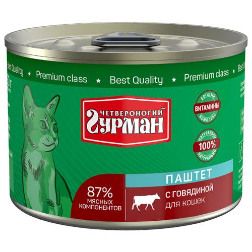 Корм для кошек Четвероногий Гурман с говядиной 190 г (паштет)Корма для кошек<br>
