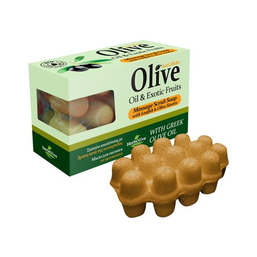 Мыло HerbOlive массажное для пилинга с экзотическими фруктами против целлюлита 100 гСредства для похудения и борьбы с целлюлитом<br>