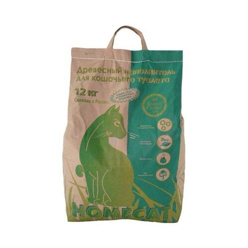 Наполнитель Homecat Древесный мелкие гранулы (40 л/12 кг ) homecat homecat древесный впитывающий наполнитель с мелкими гранулами 16 л