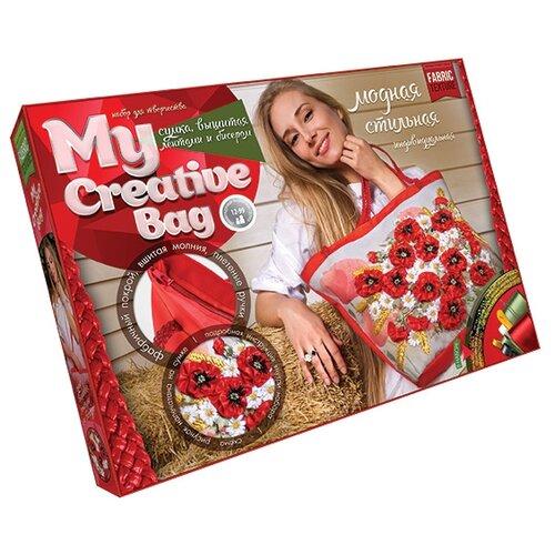Купить Danko Toys Набор для вышивания гладью, лентами и бисером My creative bag Маки (MCB-01-01), Наборы для вышивания