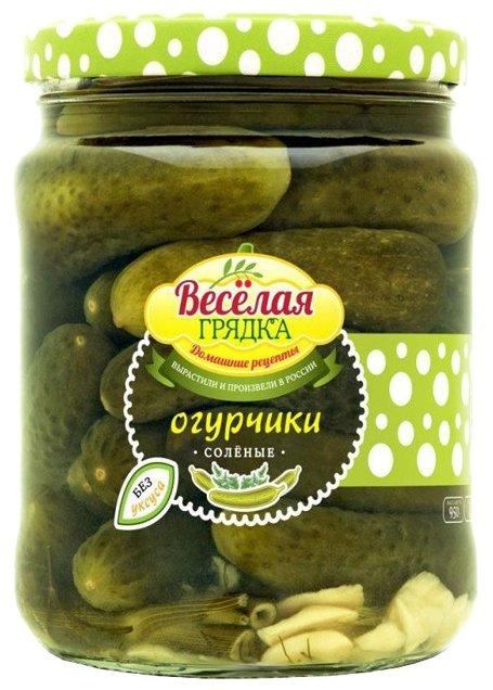 Огурчики соленые бочковые консервированные по-домашнему Веселая Грядка, 950 г