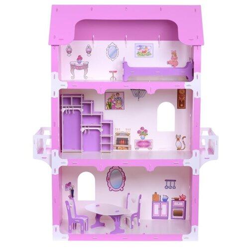 Купить KRASATOYS Коттедж Екатерина 000263, бело-розовый, Кукольные домики