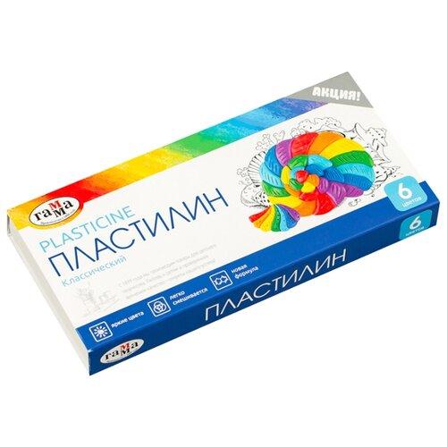 Пластилин ГАММА Классический 6 цветов 120 г со стеком (281030) пластилин hatber ушастики 12 цветов 240 грамм со стеком