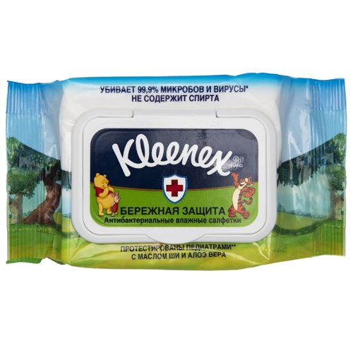 цена Влажные салфетки Kleenex Влажные салфетки Kleenex Бережная Защита Disney антибактериальные 40 шт. онлайн в 2017 году