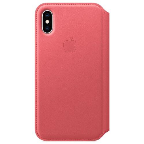 Чехол Apple Folio кожаный для iPhone XS peony pinkЧехлы<br>