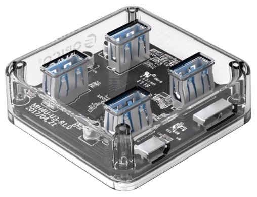 USB-концентратор ORICO MH4U-U3, разъемов: 4, прозрачный