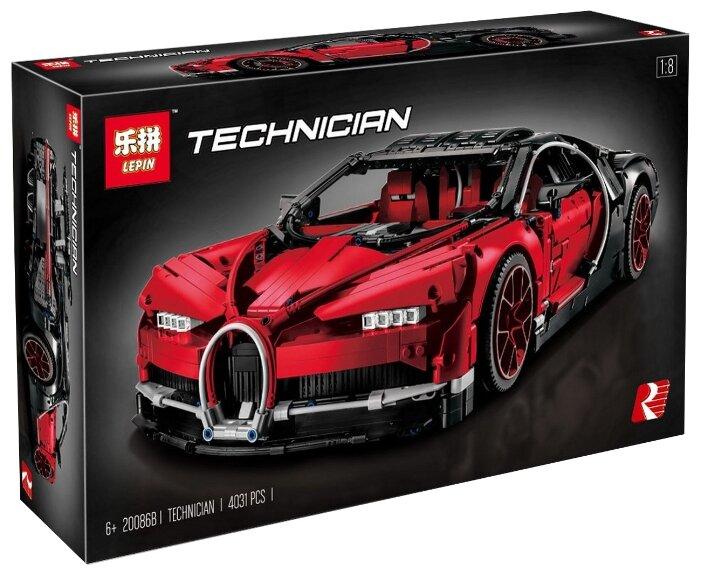 Электромеханический конструктор Lepin Technician 20086B Bugatti Chiron красный