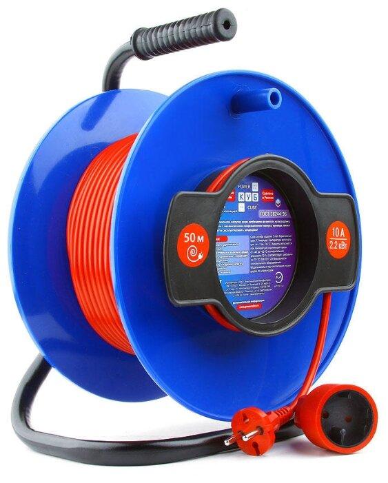 Power Cube Удлинитель на катушке 10А/2,2кВт, 1 розетка б/з, 50м