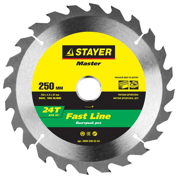 Диск пильный по дереву STAYER MASTER FAST-Line 3680-250-32-24