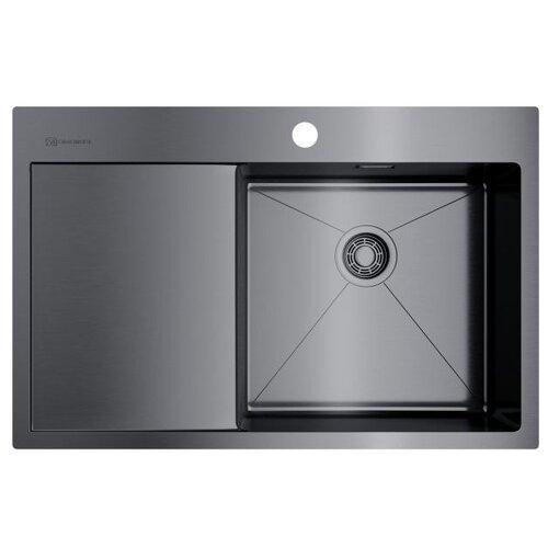 Врезная кухонная мойка 78 см OMOIKIRI Akisame 78-GM-R вороненая сталь кухонная мойка omoikiri akisame 78 gm r нерж сталь вороненая сталь 4973100