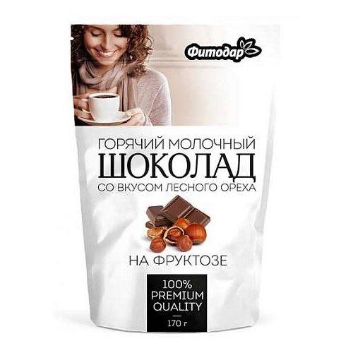 Фитодар Горячий шоколад растворимый молочный со вкусом лесного ореха на фруктозе, 170 г