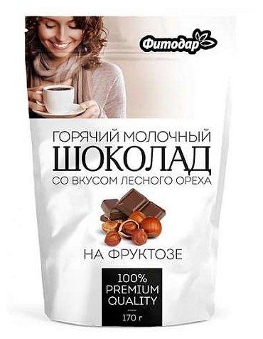 Фитодар Горячий шоколад растворимый молочный со вкусом лесного ореха на фруктозе