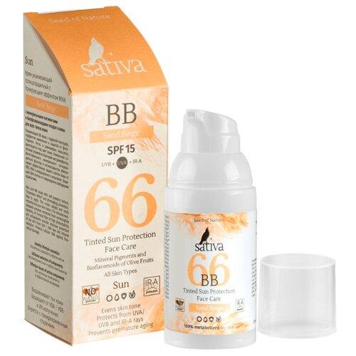 Фото - Sativa BB крем №66, SPF 15, 30 мл, оттенок: песочно-бежевый витэкс bb крем тонирующий уход spf 15 30 мл оттенок 51 natural