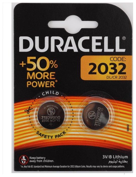 Батарейка CR2032 Duracell CR2032-2BL (20/200/29400)