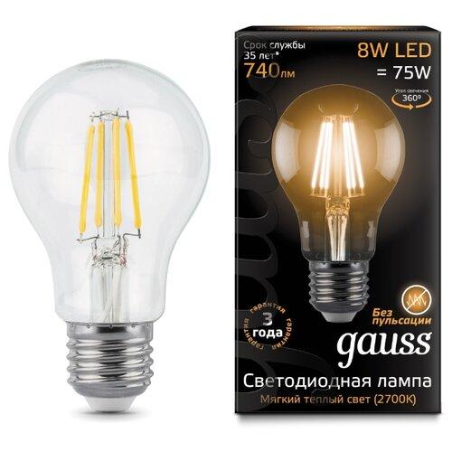 Лампа светодиодная gauss 102802108, E27, A60, 8Вт лампа светодиодная gauss 33138 e14 c37 8вт
