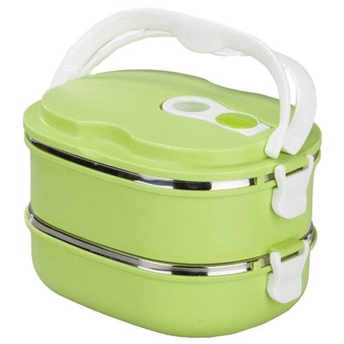 BRADEX Термо ланч-бокс двойной «Bento» зеленый/белый black blum ланч бокс rectangular белый зеленый малый