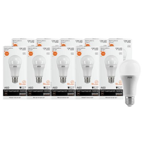 Упаковка светодиодных ламп 10 шт gauss E27, A60, 12ВтЛампочки<br>