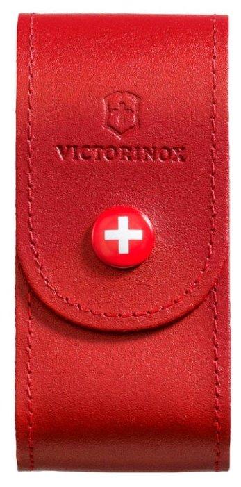 Чехол для складных ножей Victorinox 4.0521.1, рукоять 91 мм 5-8 уровней, натуральная кожа, цвет красный, крепление на пояс, Victorinox (Викторинокс)