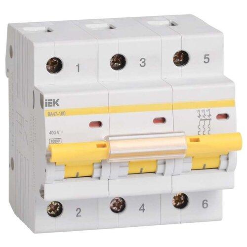 Автоматический выключатель IEK ВА 47-100 3P (C) 10kA 80 А
