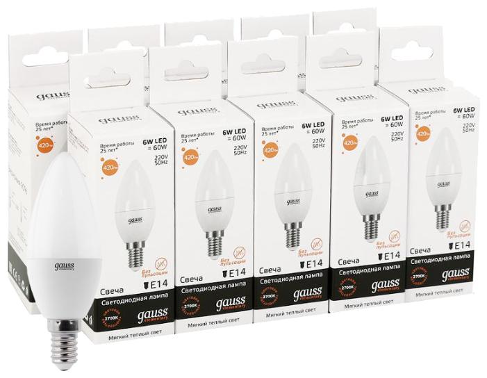 Упаковка светодиодных ламп 10 шт gauss E27, C38, 6 Вт, 3000 К