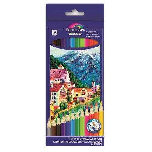 Купить Fenix-Art Акварельные цветные карандаши 12 цветов (39630), Цветные карандаши