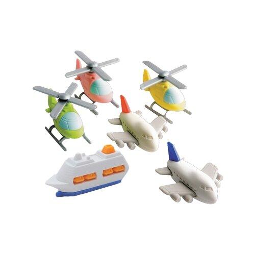 Купить IWAKO Набор ластиков Set of Helicopter Airplane Ship, 60 шт ассорти, Ластики
