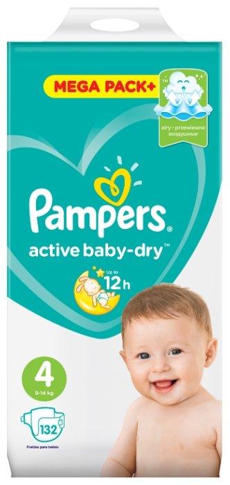 Pampers подгузники Active Baby-Dry 4 (9-14 кг) 132 шт.