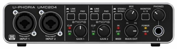 Behringer UMC204HD внешний звуковой/MIDI интерфейс, USB 2.0 , 2 вх/4 вых канала, предусилители MIDAS