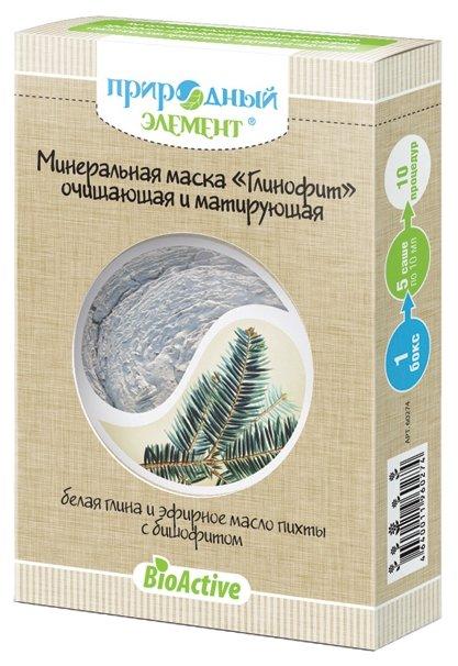 Природный элемент минеральная маска Глинофит очищающая и матирующая Белая глина и эфирное масло пихты с бишофитом