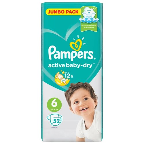 Pampers подгузники Active Baby-Dry 6 (13-18 кг) 52 шт. подгузники pampers active baby dry 5 11 16 кг 60 шт