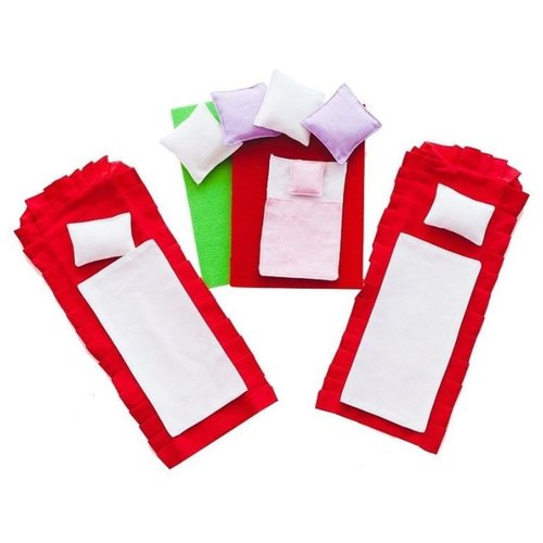 Купить Постельные принадлежности PAREMO для бежевых домиков серии Вдохновение PDA315-01 красный/белый, Аксессуары для кукол