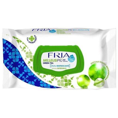Влажные салфетки FRIA Milleusipiu с экстрактом зеленого чая, 64 шт.