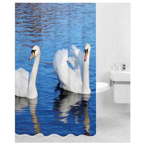 Штора для ванной Bath Plus Swans 180х200 синий штора для ванной joyarty праздничная карта 180х200 sc 5822