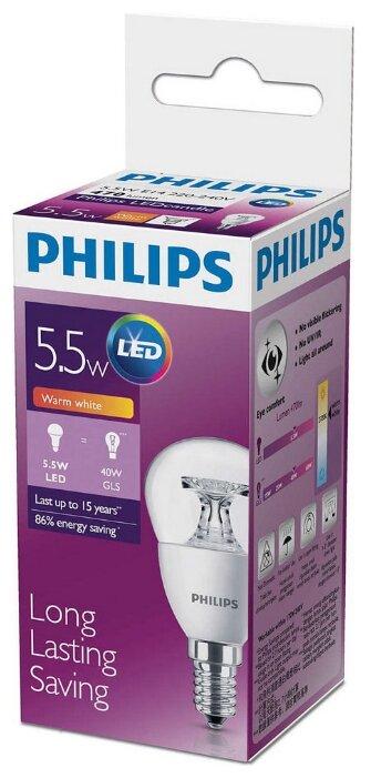 Лампа светодиодная Philips 5.5Вт E14 2700k теплый шаровидная