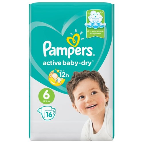 Pampers подгузники Active Baby-Dry 6 (13-18 кг) 16 шт. подгузники pampers active baby dry 5 11 16 кг 60 шт