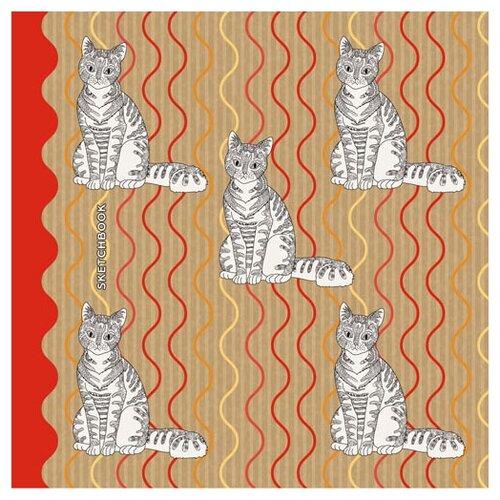 Купить Скетчбук для зарисовок Канц-Эксмо Полосатые кошки 19.5 х 19.5 см, 100 г/м², 80 л., Альбомы для рисования