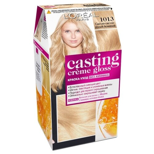 L'Oreal Paris Casting Creme Gloss стойкая краска-уход для волос, 1013, Светло-светло-русый бежевый l oreal paris excellence стойкая крем краска для волос excellence оттенок темно русый