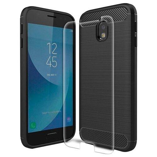 Чехол UVOO Carbon Design + Защитное стекло для Samsung Galaxy J3 2017 (U000918SAM) черный