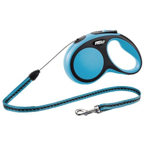 Поводок-рулетка для собак Flexi New Comfort S тросовый голубой/черный 5 мПоводки для собак<br>