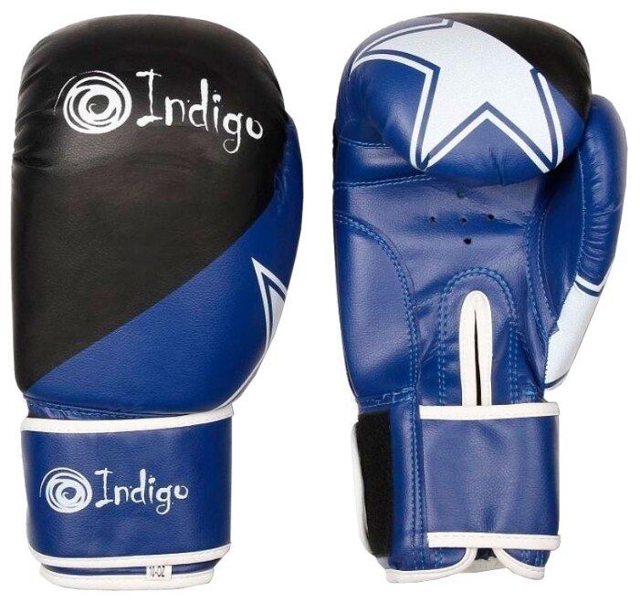 Боксерские перчатки Indigo PS-505 синий/черный 4 oz