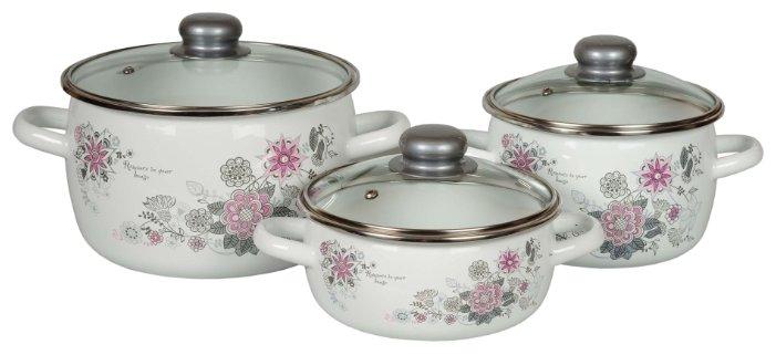 Набор посуды Стальэмаль 07 Весенний романс 1КА071S белый